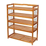 HOMFA 5-Tier Wooden Shoe Shelf Storage Organizer Entryway Shoe rack, Home Shelf Storage Cabinet for Shoes, Books and Flowerpots