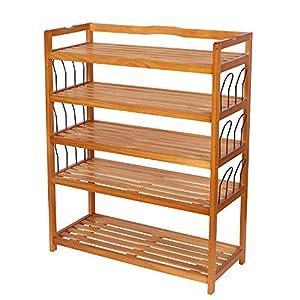 Amazoncom HOMFA 5Tier Wooden Shoe Shelf Storage Organizer