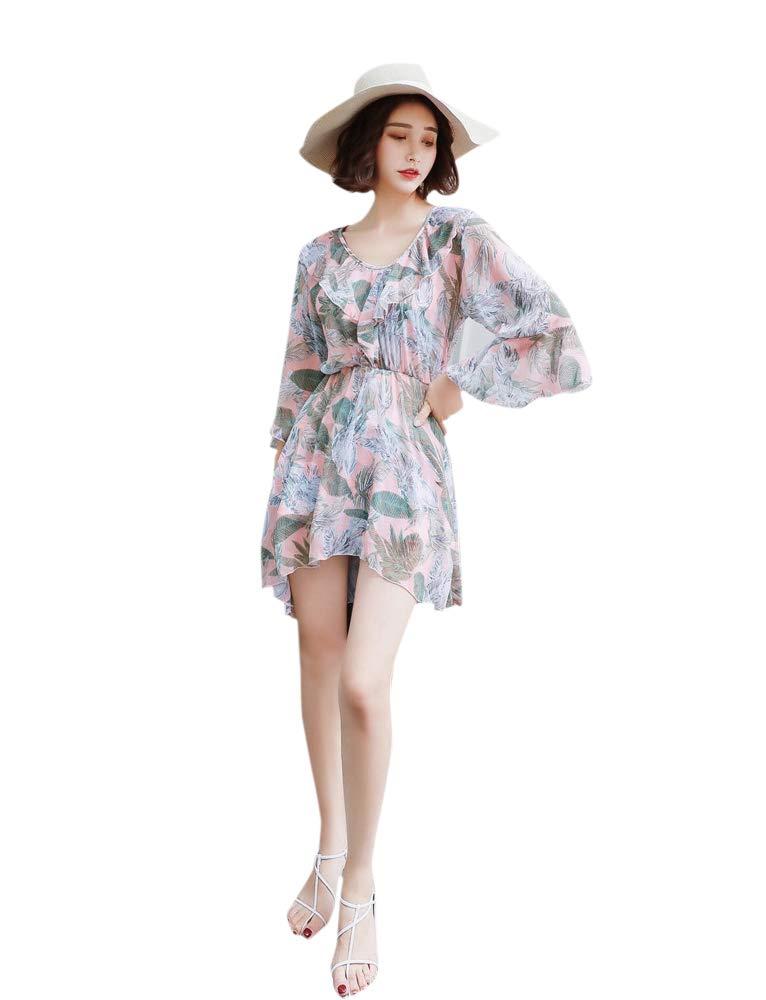 ANRIRA Tankini Swimsuits for Women with Shorts Girls Tummy Control Three Piece Swimwear Ladies Bathing Suit with Swim Coverup,Yellow,XL