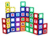 100 number tiles - Playmags Magnetic Tile Building Set: EXCLUSIVE Educational Clickins – 80-Pc. Kit: 40 Super Strong Clear Color Magnet Tiles Windows & 40 Letters & Numbers – Stimulate Creativity & Brain Development