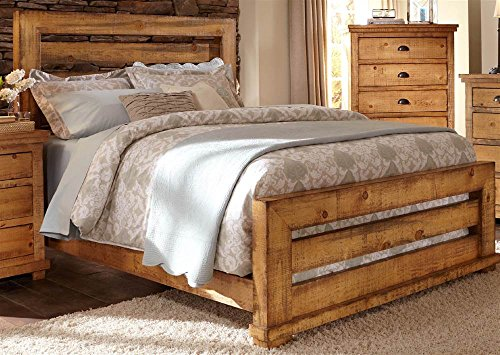 Panel Bed in Distressed Pine Finish (King - 87 in. L x 84 in. W x 3 in. - Pine Distressed Finish