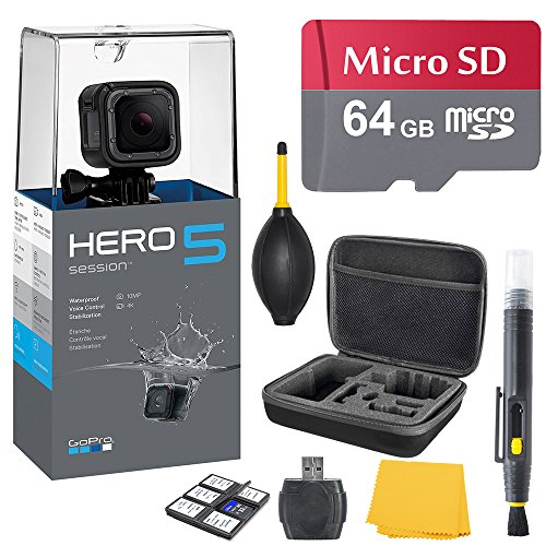 GoPro HERO 5 Session Bundle (7 items) + 64GB Card + Camera Case + Accessory Kit by K&M