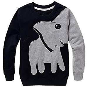 LitBud Toddler Boys Elephant Sweatshirt Casual Spring Pullover Jumpers T Shirt Tops for Kids 2 3 4 5 6 7 Years Black