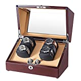 OLYMBROS Wooden Double Rotors Automatic Watch Winder Storage Boxes for 4 Watches with LED Light