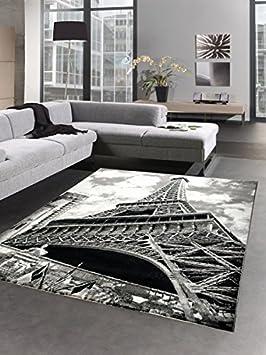 designer tapis paris tour eiffel crme gris noir gre 160x230 cm - Tapis Paris