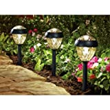 Better Homes and Gardens 6-Piece Park View Solar-Powered Landscape Light Set, Weathered Zinc Finish