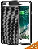 iPhone 7 Plus / 8 Plus / 6S Plus Battery Case, Slim Portable Rechargeable Charger Case - iPhone 7 Plus / 8 Plus / 6S Plus 4000mAh by iBatrycas - Black-Unique