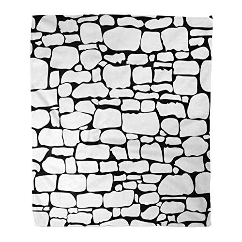Emvency Throw Blanket Warm Cozy Print Flannel Brown Pattern Stones Rock Wall Stonewall Brick Nature Patten Gray Abstract Comfortable Soft for Bed Sofa and Couch 60x80 Inches ()