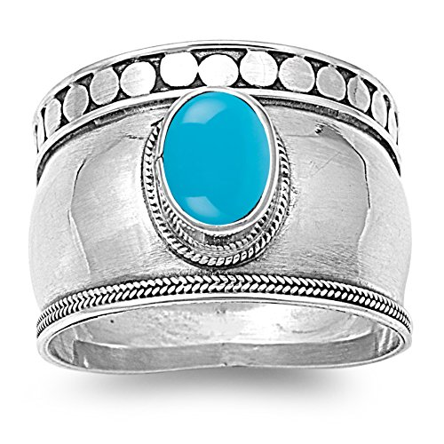 Cabochon Sterling Silver Ring - 925 Sterling Silver Oval Cabochon Natural Genuine Blue Turquoise Bali Ring Size 5