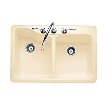 Bon American Standard 7145.805.021 Silhouette 33 By 22 Inch Double Bowl  Self Rimming/Undercounter Kitchen Sink With 5 Faucet Holes, Bone      Amazon.com
