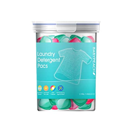BABYPEACH 3en1 Detergente en Cápsulas para Lavadora, Protección del Color y Suavizante (42 Lavados)