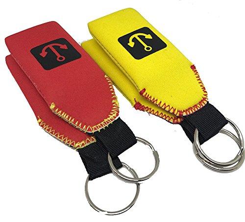 Sports Imports 4x Floating Neoprene Keychain Key Chain Floats 2-3 Keys, (2x Red and 2x Yellow)