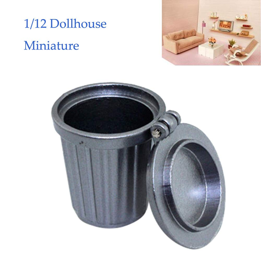 Vibola 1/12 Scale Dollhouse Accessories,Mini Garbage Trash Can Decor Gift Toy,Dollhouse Kit Accessories Pretend Play Toy for Kids Boy Girl Bedroom Living Room (Silver)