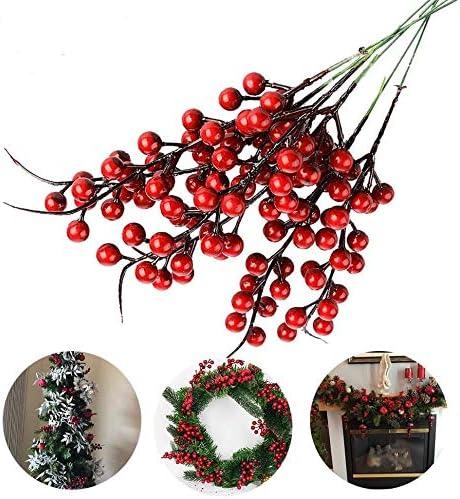 Jycra Bayas Rojas Artificiales De Navidad Paquete De 10 Bayas De Flor De Acebo De Bayas De Fruta Falsa Para Decoración De Fiesta Navideña De árbol De Navidad 26cm Amazon Es Hogar