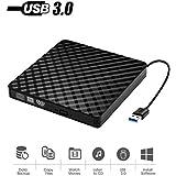 External DVD Drive, High Speed Data Transfer USB 3.0 External CD DVD Reader Writer Player for Laptop Desktop Macbook Mac OS Windows 10/8/7/XP/Vista