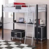 Coaster Home Furnishings Contemporary Bunk Bed, Black and Silver