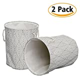 Haperlare 2 Pack Large Collapsible Round Laundry Basket,3 Thicken Layer Canvas Laundry Hamper Large Storage Bins Cotton Linen Storage Bag with Cotton Rope Handles Grey Diamond
