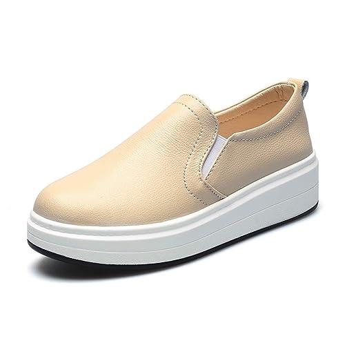 Mocasines De Las Mujeres Pisos Zapatillas De Deporte De Cuero Genuino ResbalóN En El Dedo del Pie Redondo Zapatos Casuales Mujer Plataforma Plana Barco ...