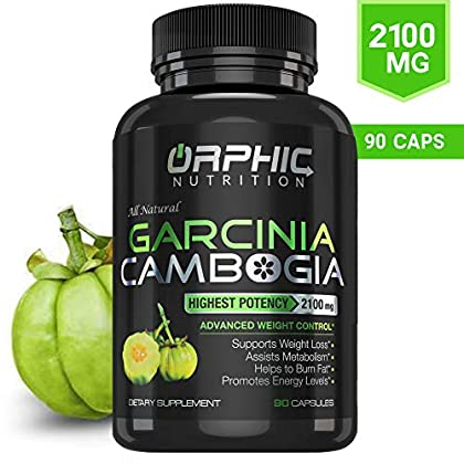 100% Pure Garcinia Cambogia Extract 95% HCA – 2100mg Appetite Suppressant – Carb Blocker Capsules – Orphic Nutrition – 90 Caps