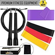 Jump Rope Speed Skipping for Boxing MMA Gym, Resistance Loop Bands & Long Exercise Band for Yoga / Strength Training / Pilates / Rehab / Legs, QUANFUN Fitness Workout Equipment for Men/Women, SET of 3