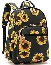 Leaper Water-Resistant Floral School Backpack Travel Bag Bookbags Women Satchel (Sunflower-Black)