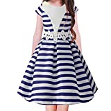 FACOCO Striped Tutu Girl Short-Sleeved Skirt Flower Princess Dress School Gift(Dark Blue 100cm(4-5 Years)