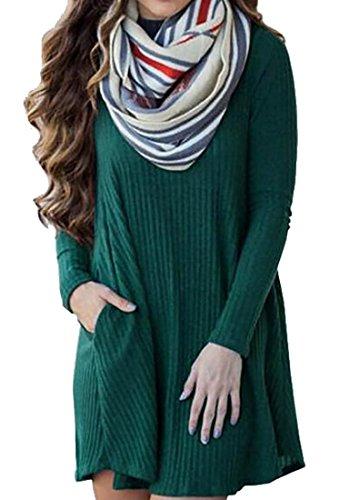 Accoppiamento Mini Delle Vestito Verde Donne Lungo Libero Maglia Solido A Cruiize Lavorato Manicotto Uw5aZvvq