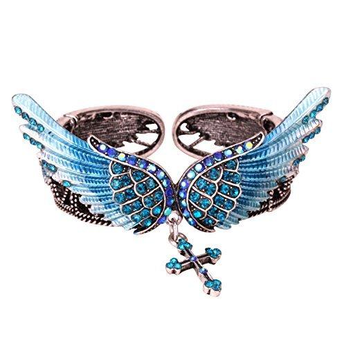 YACQ Womens Angel Wings Cross Stretch Bangle Bracelets Biker Jewelry Costume Accessories