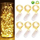 [6-PACK] 7Feet Starry String Lights,Fairy String Lights 20 Micro Starry Leds On Silvery Copper Wire. 2pcs CR2032...