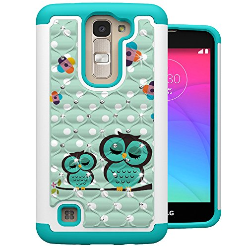 LG Tribute 5 Case, LG K7 Case, MagicSky [Shock Absorption] Studded Rhinestone Bling Hybrid Dual Layer Armor Protective Case Cover For LG Tribute 5 / LG K7 / LG Escape 3 / LG Phoenix 2 / LG K8 - Owl (Jeweled Lg Tribute Case)