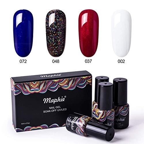 Maphie Gel Nail Polish Set - Red Blue Glitter Black White Collection Colors Need UV LED Lamp- 4pcs/set 0.21 OZ