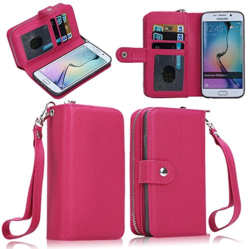 Galaxy S6 Edge Plus Case ,Gebei Galaxy S6 Edge Plus 2IN1 Detachable Back Case Leather flip Wallet Bag Pouch Case Cover for Samsung Galaxy S6 Edge Plus (Rose Pink)
