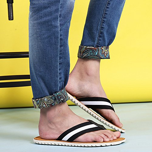 Fereshte Herenmode Slippers Flip Flop Casual Ademend Colorblock Strand Sandalen Zwart Wit