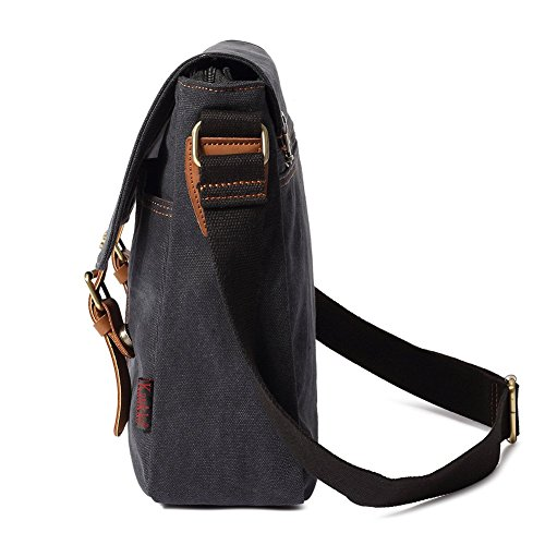 Vintage Men Messenger Bag, Kaukko Canvas Crossbody Shoulder Bags Laptop Briefcase Black by KAUKKO (Image #4)