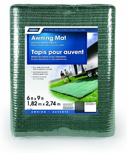 Camco Durable Reversible RV Awning Mat- Mildew and Rust Resistant Help Prevents Dirt From Being Tracked - Perfect for Beaches and Picnics 6' X 9'- Green (42880) by Camco (Image #3)