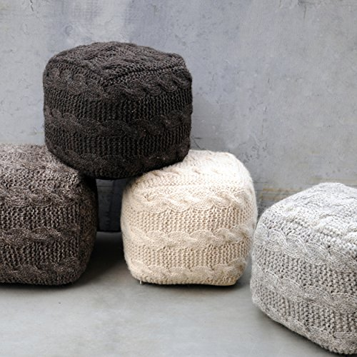 Cheap Dekka Grey Hand Knit Fabric Artisan Square Pouf