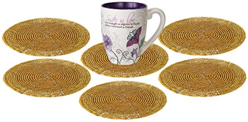 (SKAVIJ Glass Beads Tea Coasters Set of 6 for Home and Office Desk (Dia - 4 Inch, Gold))