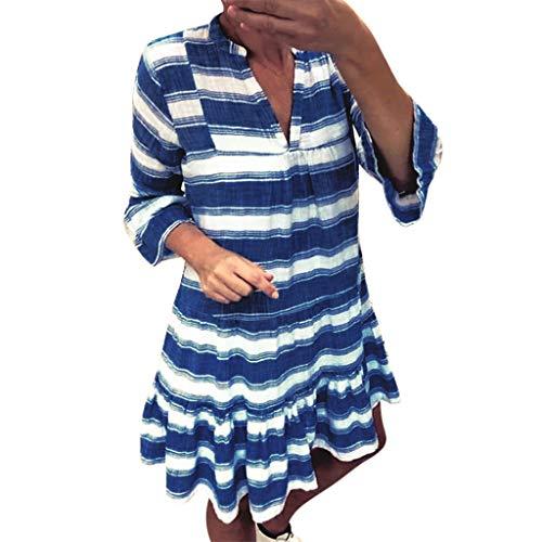 ZSBAYU Women's Striped Print Short Dress Loose Long Dress, Casual Ruffle Kaftan Sundress Three Quarter Sleeve Mini Dress(Blue,XXXXXL) -