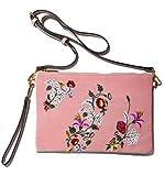 Handbag Republic Velvet Flower Embroidered Clutch Purse With Wrist Strap Wristlet Crossbody Bag For Women