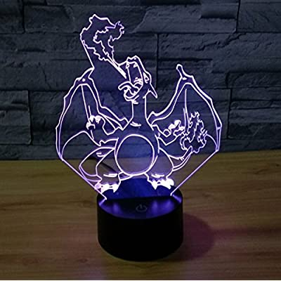 Charizard 3D Night Light 7 Color Change LED Desk Lamp Touch Button Room Halloween Christmas Decor for Birthday Gift: Home Improvement