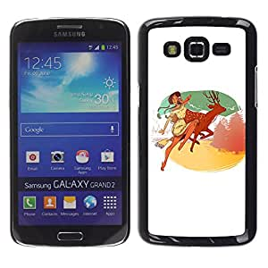 Paccase / SLIM PC / Aliminium Casa Carcasa Funda Case Cover para - Indian Girl Deer Nature Mountains Happiness - Samsung Galaxy Grand 2 SM-G7102 SM-G7105