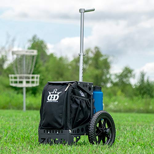 Dynamic Discs Compact Disc Golf Cart by ZUCA | Rugged Performance Characteristics | Two XL Water Bottle Holders | Removable Tubeless Tires | Telescoping Handle | Built-in 15 Plus Disc Capacity