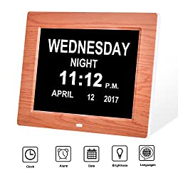 SkyNature Day Clock -8 Digital Clock with Extra Large Non-Abbreviated Date and Month,Ideal for Memory Loss, Impaired Vision and Seniors(Wooden)