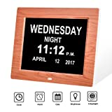SkyNature Large Digital Desk Clock for Memory Loss--White Display with Day and Calendar for Elderly (Brown)