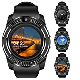 Padcod V8 Sports Smartwatch Bluetooth 4.0 Message Push, Sedentary Reminder, Pedometer, Sleep Monitoring Wristband for iOS/Android Phone (Black+Black)