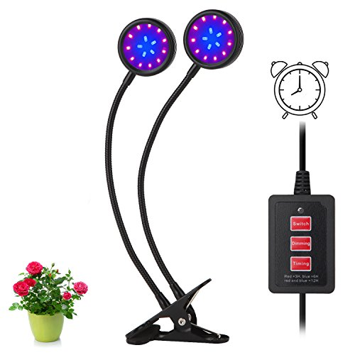 Timing Function Dual Head Grow Light 32LED 5 Dimmable Levels Spectrum for Indoor Plants with 360 Degree Adjustable Hydroponics Greenhouse Gardening[2018 Upgraded] (16watts, Dual Head) by Amsuns