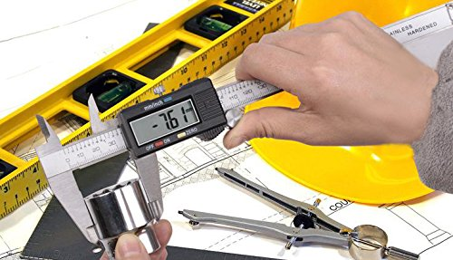 Onebycitess Metric Digital Caliper with LCD Screen 0-6 inch/150mm Stainless Steel Electronic Depth Gauge Measuring Tools by Onebycitess (Image #7)