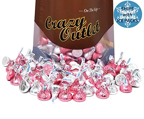 Hershey's Kisses Milk Chocolate, Silver and Pink Foils Mix, 2 lbs -