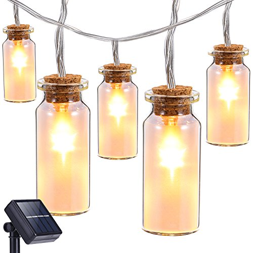 Solar String Lights Outdoor,Oak Leaf 9.8 ft 30 LEDs Waterproof Glass Jar LED Fairy Lights for Outdoor Garden Backyard Wedding Party,Warm White