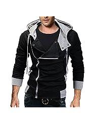 WSLCN Men's Hipster Hip Hop Jacket with Hood Casual Zipper-up Hoodie Jacket